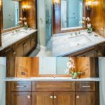 Walnut bathroom vanity - solid surface cambria countertop, powder room, guest bath, master bath, custom remodel. woodwork