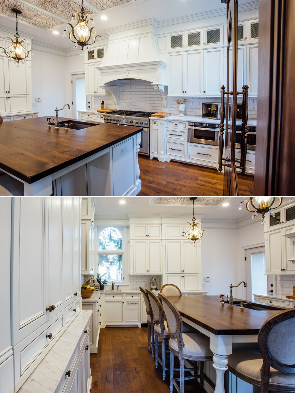 White Glazed Kitchen with Walnut Countertop - Elite Designs International - Custom Cabinetry & Millwork Buffalo & Western New York #carraramarble #subwaytile #appliancepanels #wood