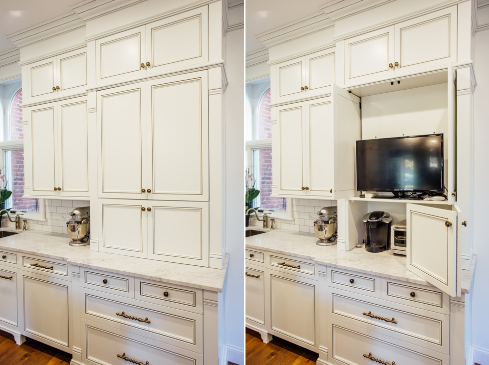 White Glazed Kitchen with Walnut Countertop - Elite Designs International - Custom Cabinetry & Millwork Buffalo & Western New York #carraramarble #subwaytile #appliancepanels #wood #appliancegarage