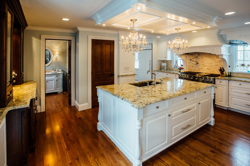 Custom Painted Kitchen - with french blue china hutch, granite countertops, light soffit, crystal chandeliers