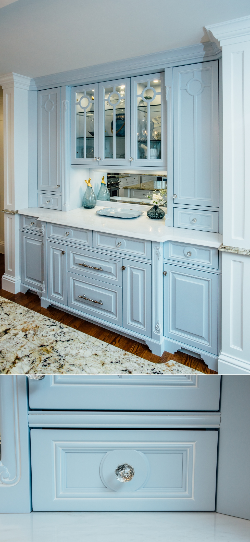 Custom Painted Kitchen - with french blue china hutch, granite countertops, light soffit, crystal chandeliers , wood bar, storage, refrigerator door