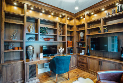 Custom Walnut Den & Home Office - wny family owned cabinetry & millwork #clarence #woodcountertop