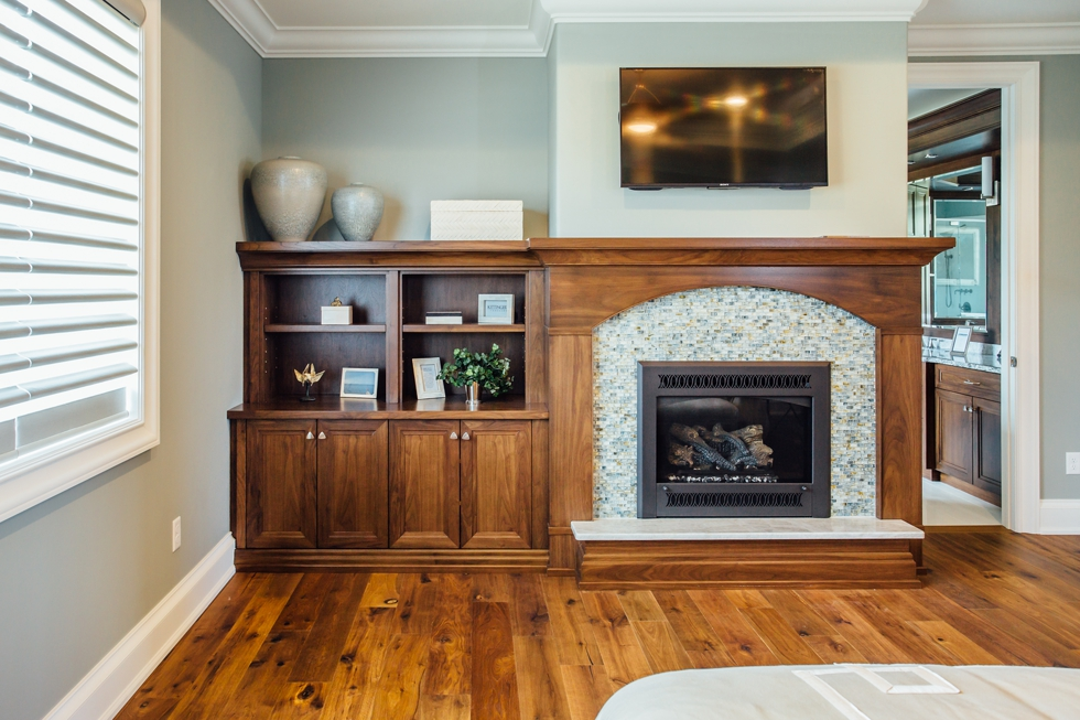 Built-in cabinetry - Bookcases, mudroom & fireplace mantel. Buffalo & WNY family owned custom wood work & cabinetry